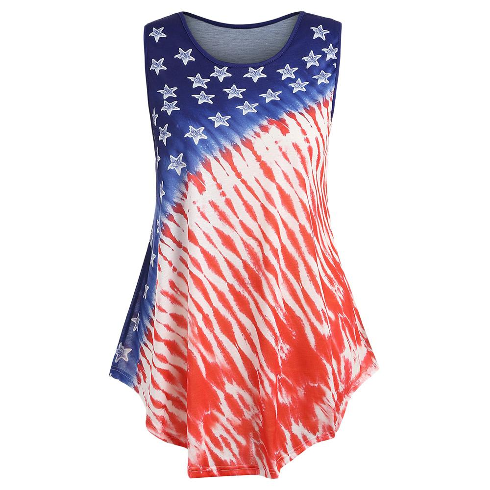 2a897d797e0 2018 New Fashion Ombre American Flag Top Women Long Tank Tops Summer O Neck  Sleeveless Ladies Top Tees Plus Size 5XL XL Clothes