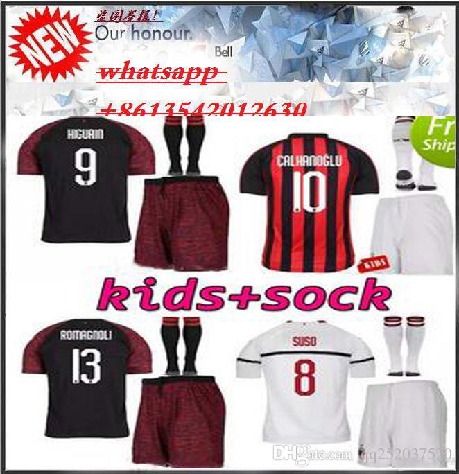 Kids 2018 2019 AC Milan HIGUAIN BAKAYOKO ANDRE SILVA CALHANOGLU Soccer  Jerseys Set 18 19 Kits Camisetas CONTI Kalinic SUSO KESSIE Shirts UK 2019  From ... 88f56459f0fdc