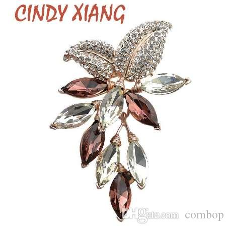 CINDY XIANG Big Crystal Flower Large Brooch Grape Pins and Brooches Wedding Jewelry Bijouterie Corsage Dress Coat Accessories