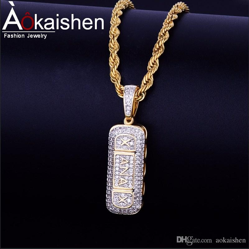 Wholesale Drilling Pill Pendant Necklace Hip Hop Jewelry Hot Seller Men  Women S AAA Cubic Zircon For Rope Chain For Drop Shipping Choker Necklace  Gold ... 22d2f521f