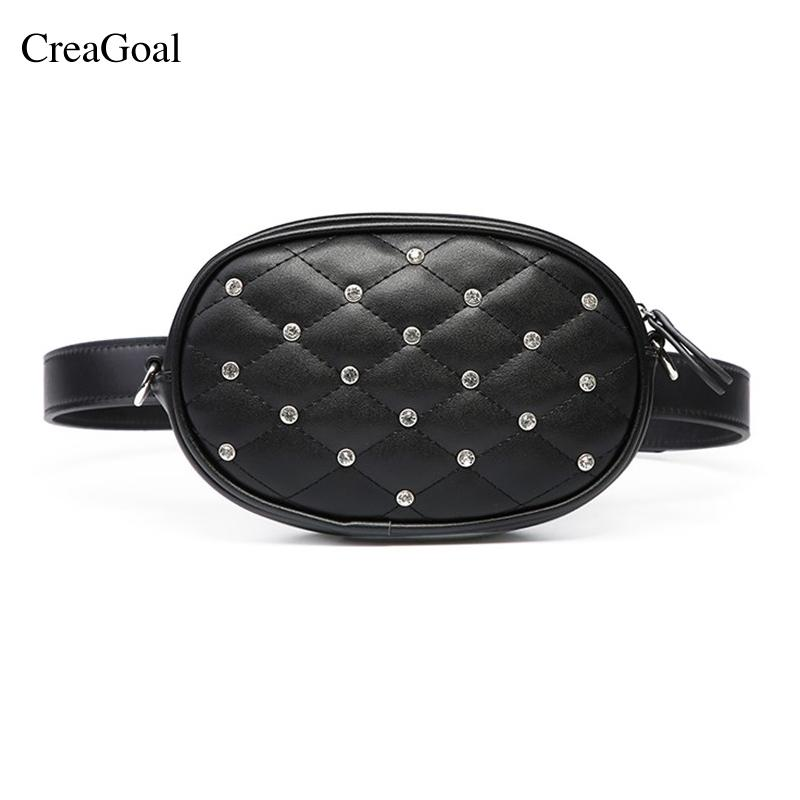 ccbac2a16901 New Fashion Black Solid Leather Waist Bag For Women Fanny Pack Waist ...