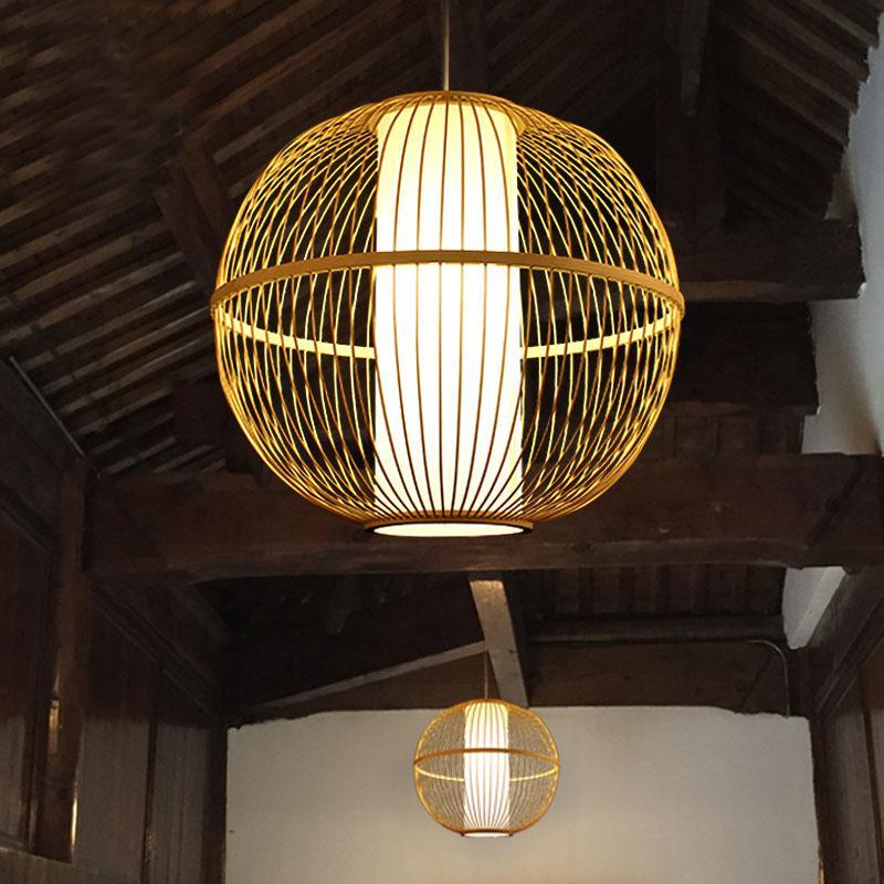 New China Birdcage Pendant Light Bamboo Round Pendant