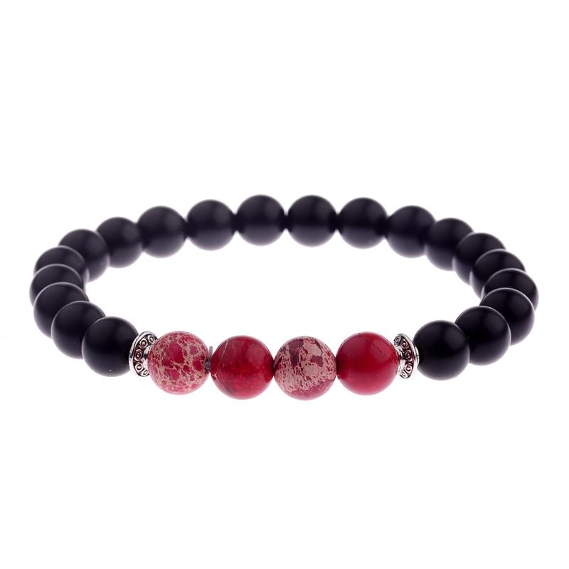 c13848d68dc6b Natural Stone Bracelet Chakra Mens Bracelets 2018 Natural Black Onyx Matte  Beads Bracelet 8mm Red Men Strand Bracelets AB251