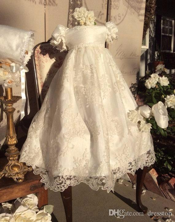 5a4fcb7d667 Ivory Christening Dresses For Baby Girl Lace Appliques Baptism Gown With  Puffy Short Sleeves Cheap A Line Kid First Communication Dress Ivory  Communion ...