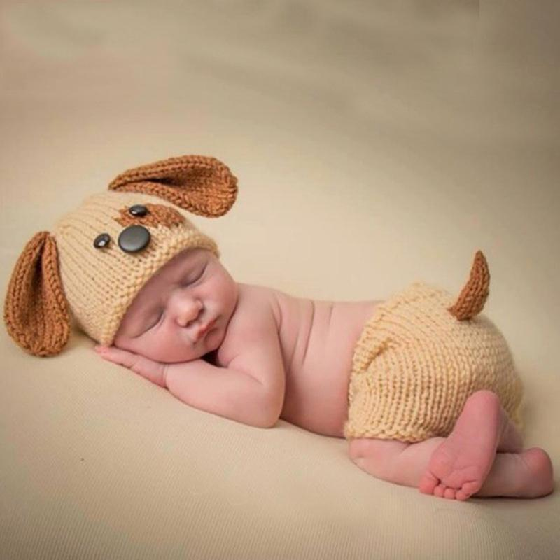e9745711217 2019 2018 New Baby Photography Props Knitting Dog Hat Pants Sets Newborn  Infant Photo Crochet Animal Clothing Baby Hats Puppy Clothes From  Opps mybaby