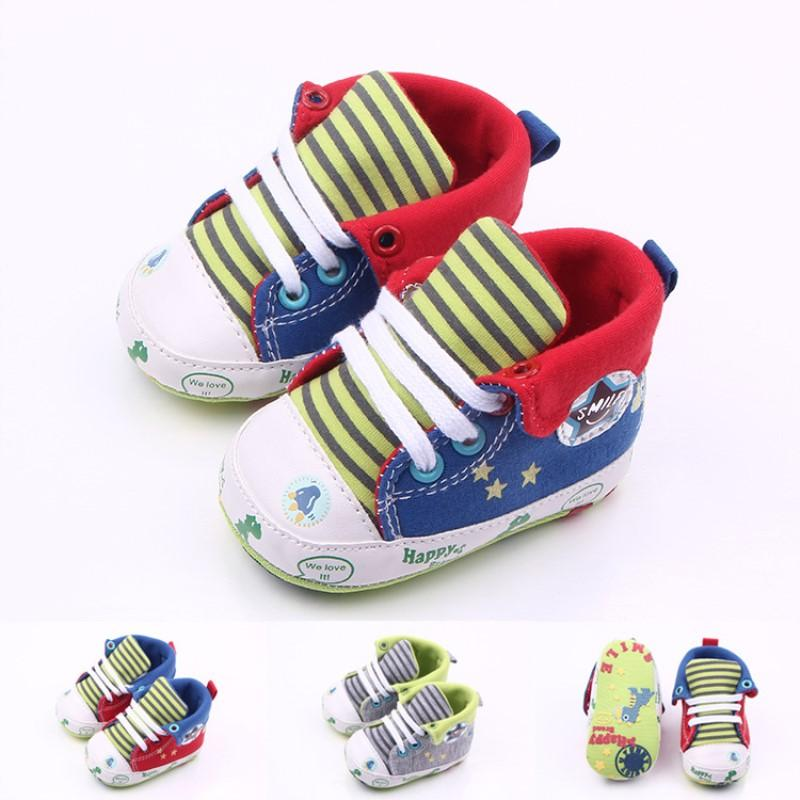 08dc880a719 2019 Dinosaur Kids High Cut Canvas Shoes Baby Boy Casual Animal Shoe Infant  Soft Sole Prewalker Shoe For 0 18 Months Babies From Bdshop