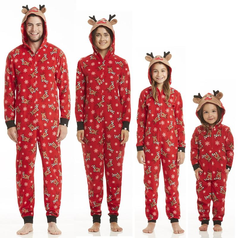 548e25ab44a8 Family Matching Outfits Christmas Family Pajamas Set Adult Women Men Kid  Long Sleeve Hooded Sleepwear Nightwear Rompers Jumpsuit Matching Outfits  For Mom ...