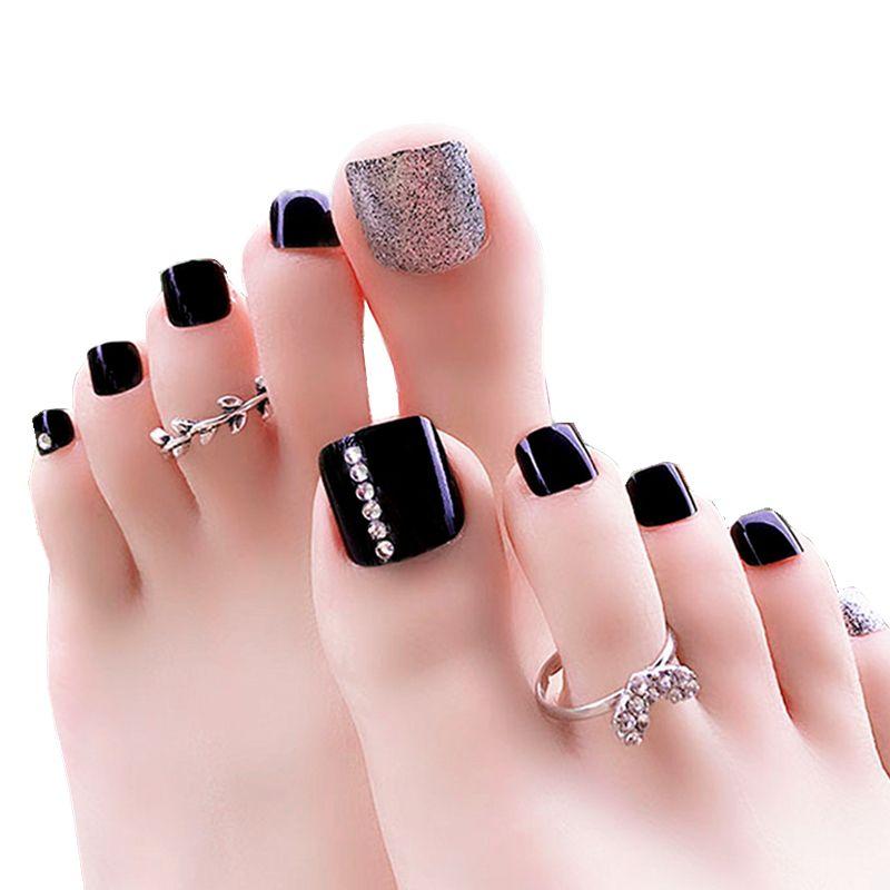 False Nails Toes Fake Nail Full Cover Tips Design Artificial Art Feet Colors Fashion Toenails Pedicure Set Acrylic