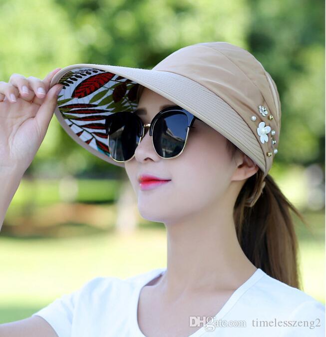Compre Las Mujeres Del Verano De Ala Ancha Sombreros Señora Con Flor De  Perla Sombreros De Playa Plegable Fácil De Llevar Chica Paja Protección  Solar ... 6e477d171de