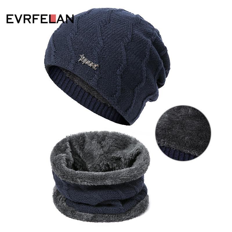 84725c4eefc46 Evrfelan Winter Set Hat Scarf Men Knitting Warm Beanies Hat Ring Scarf Male  Unisex Plus Velvet Solid Color Scarf Hat   Glove Sets Cheap Scarf Online  with ...