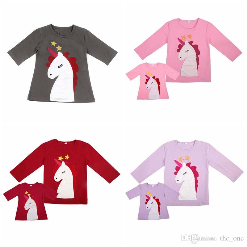 Mother Daughter Family Matching Clothes Women Kids baby girl Cute stars Unicorn Long Sleeve Top Tee T Shirt