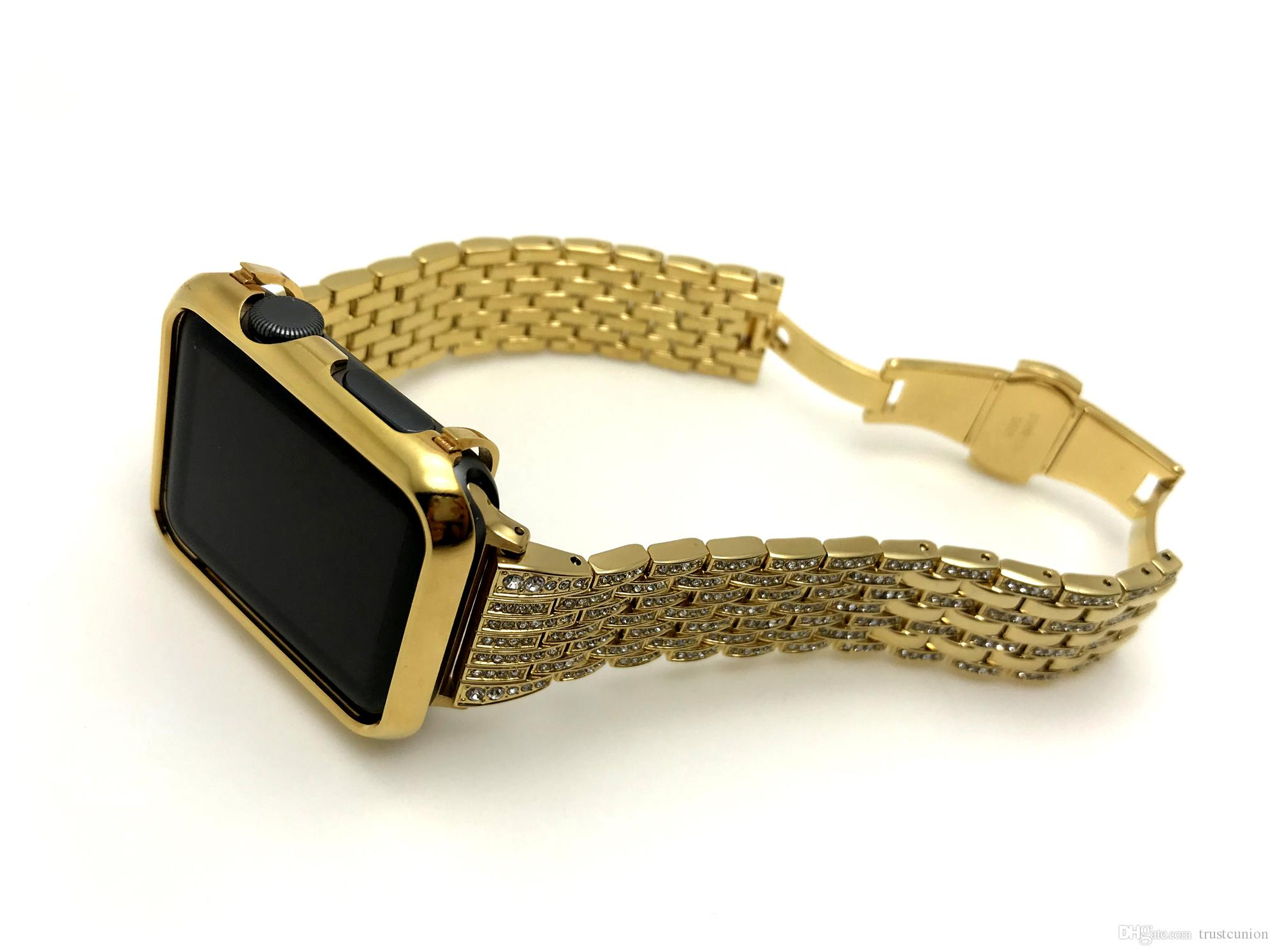 promo code 0fb4f dea7f 24K Gold Plated Apple Watch Bezel Cover Case Gold Diamonds Stainless Steel  Watch Band for Apple Watch S1/S2/S3 42mm (2in1 Set)