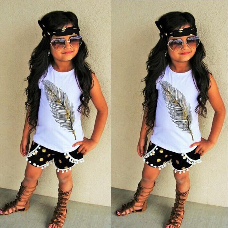 773da6b3e427 INS Baby Girls Clothes Set Feather Pattern Sleeveless Tops Shorts ...