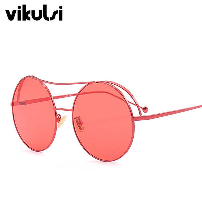 2eddfd77a0 Compre Diseñador De La Marca De Moda Clásico Gafas De Sol Redondas Mujeres  De Gran Tamaño Gafas De Sol Rojas Decoración De Metal Vintage Shades Puntos  ...