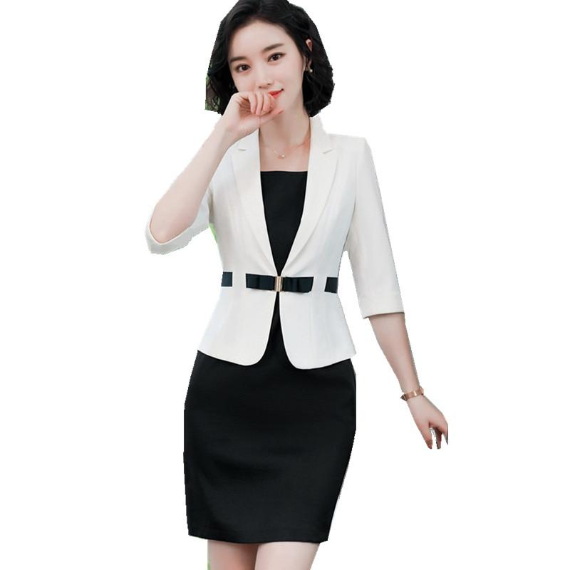 2019 Fmasuth Summer Autumn Office Suit For Women 3 4 Sleeve White