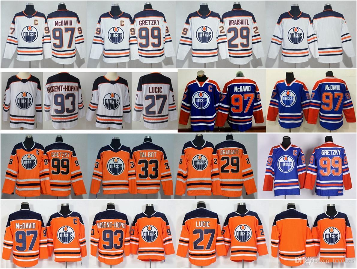 newest 1d18a 0be17 2018 Edmonton Oilers Hockey Jerseys 99 Wayne Gretzky 97 McDavid 29 Leon  Draisaitl 27 Milan Lucic 93 Ryan Nugent-Hopkins Connor Orange Jersey