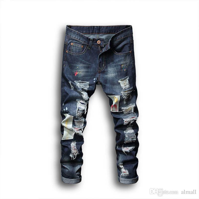 bf49712b0 2018 nuevos hombres skinny jeans rasgados para hombres angustiados mediados  de la cintura parches parches rectas pantalones de personalidad flacos ...
