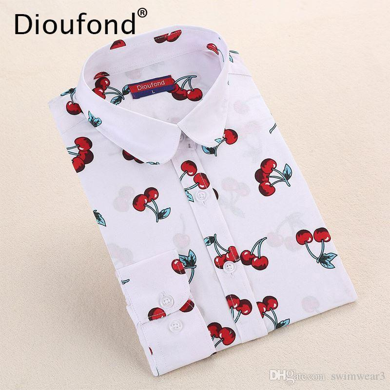 8f91ebc33ef Dioufond New Floral Long Sleeve Vintage Blouse Cherry Turn Down ...