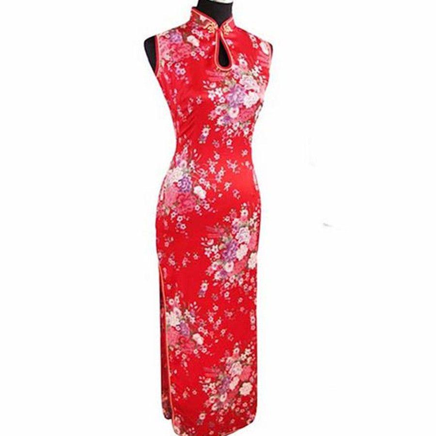 99a87eaee97ce Satın Al Moda Trendleri Kırmızı Çin Geleneksel Elbise Kadınlar İpek Rayon  Cheongsam Üst Seksi Uzun Damlayan Qipao Çiçek S M L XL XXL J5113, $20.73 |  DHgate.