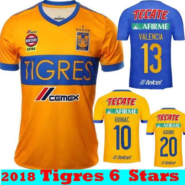 a00b27efebd 2019 New 6 STARS 2017 2018 Top Thai Quality Tigres UANL Home Yellow GIGNAC  GUERRON Soccer Jerseys 17 18 Mexico Away Blue Thai Football Shirts From ...