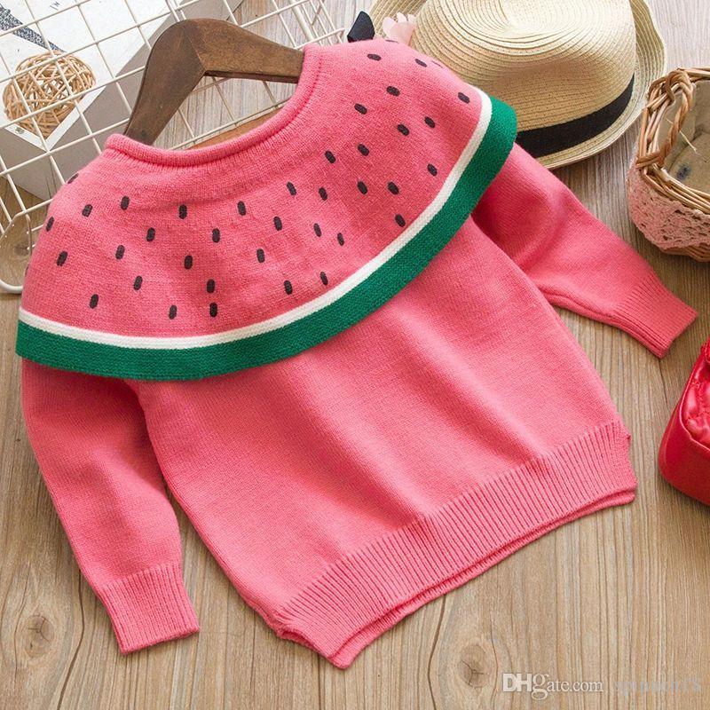 4afd646b1ef4 2018 Autumn Winter Warm Baby Girls Sweaters Kids Watermelon Knitwear ...