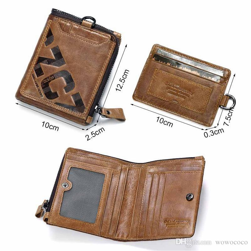 d0295f2b434f Men Cowhide Genuine Leather Zipper Card Holder Short Wallet Purse Coin Bags  Multi Function Bifold Detachable Bag X147 Rodeo Wallets Wallet Wristlet From  ...
