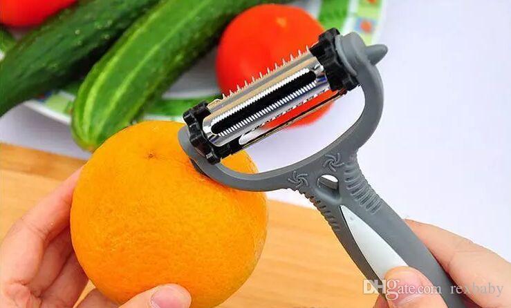 متعددة الوظائف 360 درجة الروتاري البطاطس مقشرة الخضار القاطع الفاكهة البطيخ المسوي المبشارة مطبخ أداة 3 شفرات مقشرة
