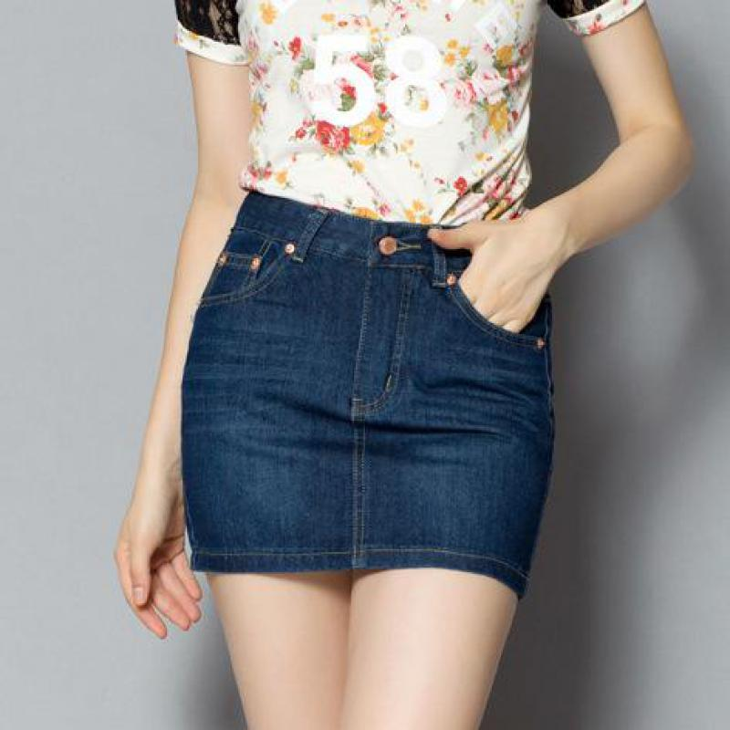 d365e55415 2019 New 2017 Summer Women Denim Skirt Button Plus Size Vintage Blue Short  Mini Skirts Womens Fashion Casual Brand Package Hip Skirt From Huoxiang, ...