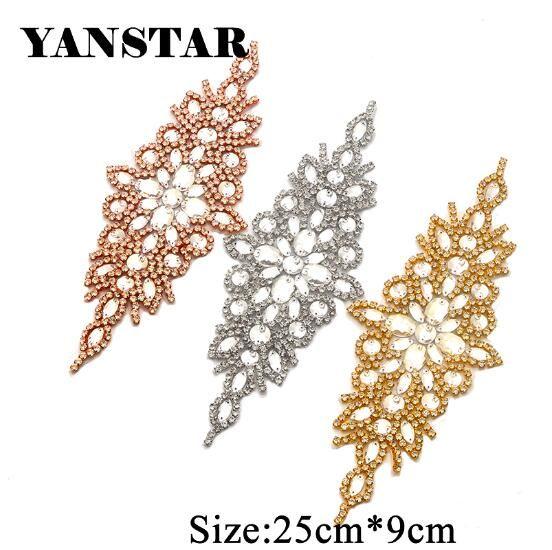 Yanstar Handmade Rhinestones Appliques Wedding Dresses Belt
