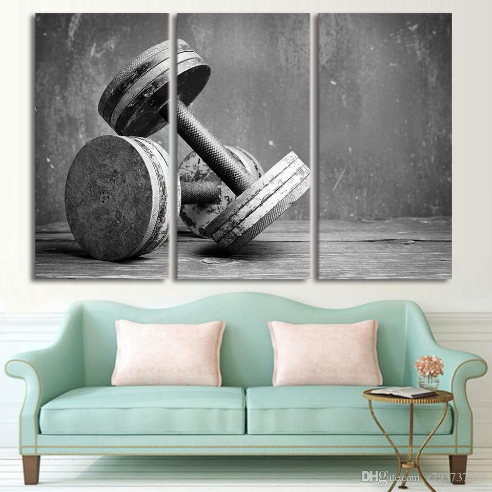 Canvas Painting Poster Hd Printed Artwork 3 Pieces Fitness Equipment Dumbells Home Decor Pictures Modern Wall Art Framework