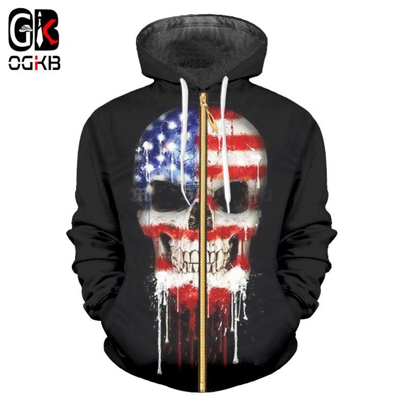 Compre OGKB Bandera Americana Sudaderas Con Cremallera Hombres Fresco  Cráneo 3D Impreso Sudaderas Con Capucha Hombre Hiphop Manga Larga Outwears  Marca ... 7764602f2ff