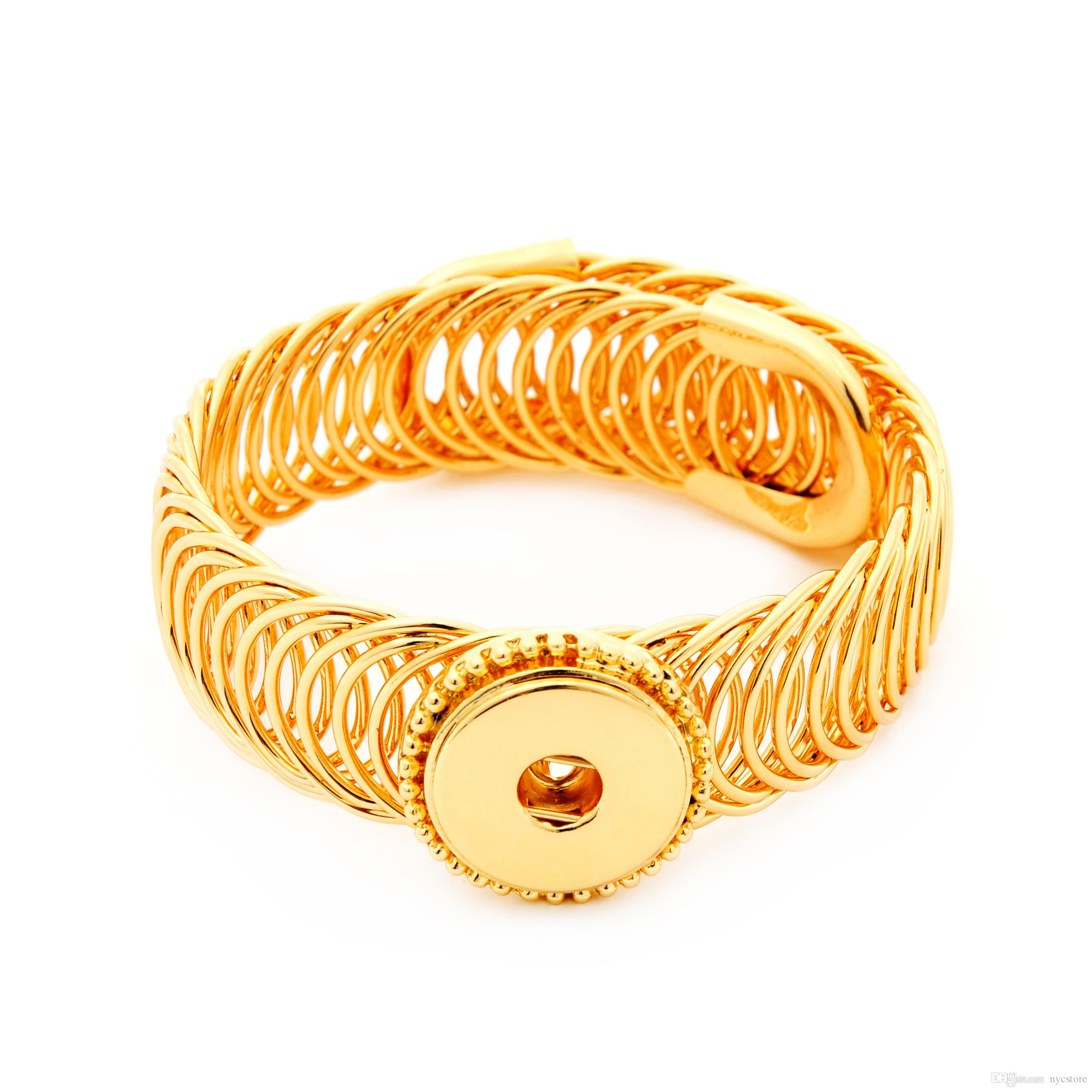 Interchangeable Jewelry 18k Gold Plated Alloy Snap Button Bracelet