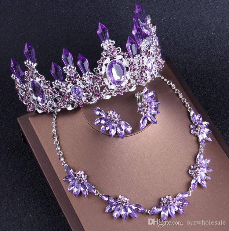 2018 Purple Romantic Crystal Love necklace earrings with Zinc a crown necklace earrings Bridal Accessories three-piece set (earring/clip)