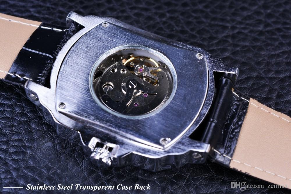 2018 Победитель ретро Классический дизайнер Серебряный корпус из нержавеющей стали Мужские часы Top Brand Механические автоматические часы Часы Мужчины Free S