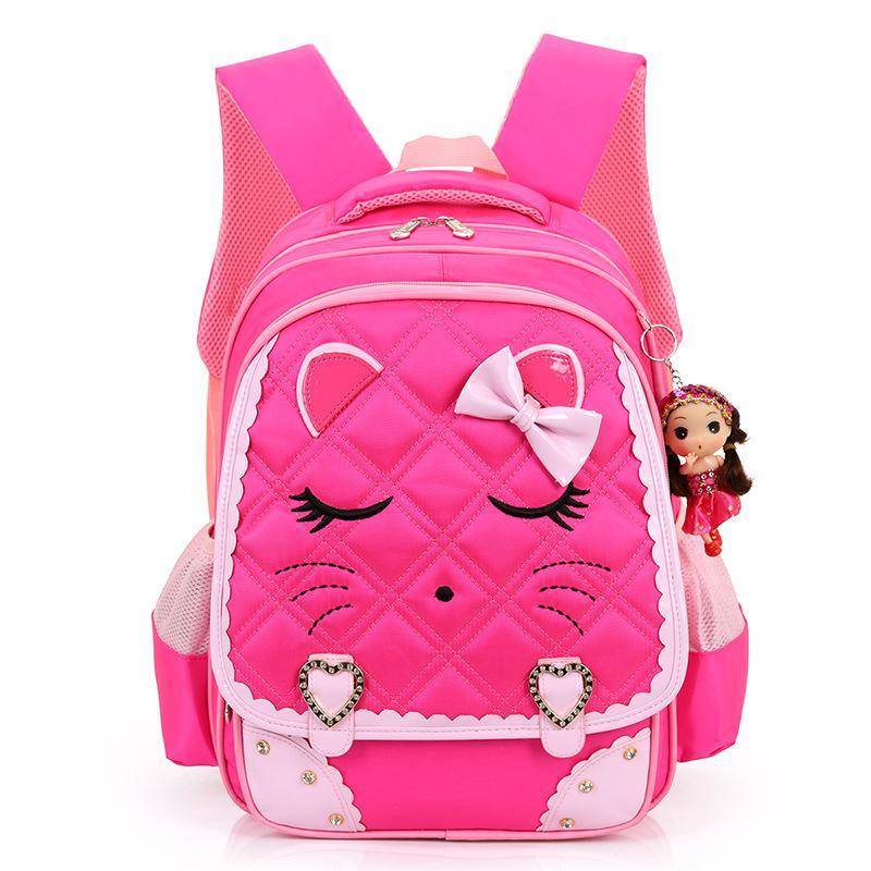 8afe6914bd 2017 New Cartoon Cat Girls School Bags Princess Pink Children Backpacks For  Primary School Students School Bag Kids Satchels Cloth Bags Childrens  Suitcases ...