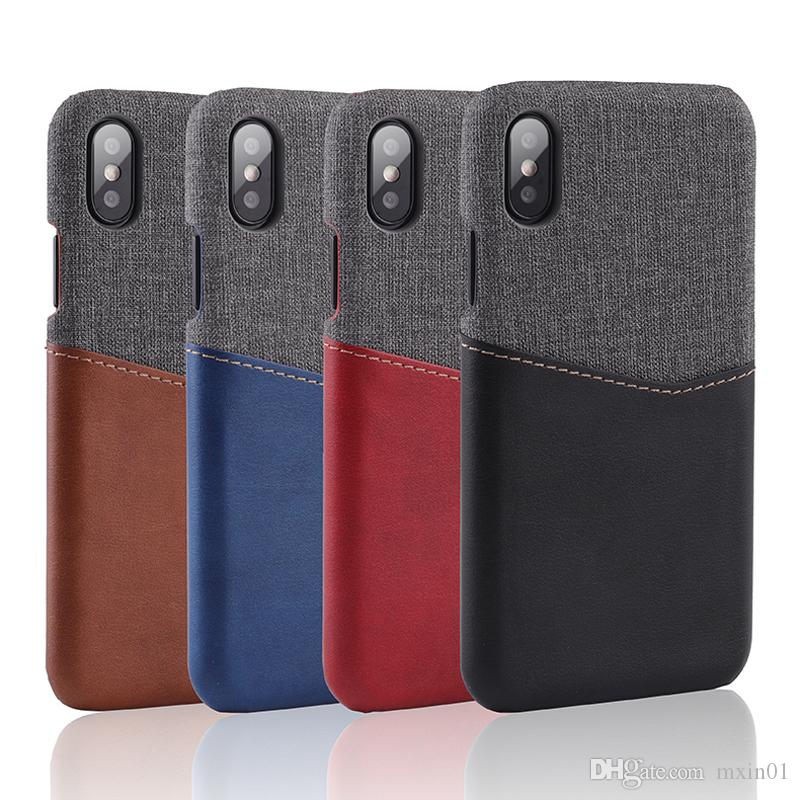 Luxury Leather With Fabric Wallet Card Slot Shockproof Case For iPhone X 8 7 6 6S Samsung S8 S9 Plus Note 9 Note9 Huawei Mate 9 10 P20 Pro