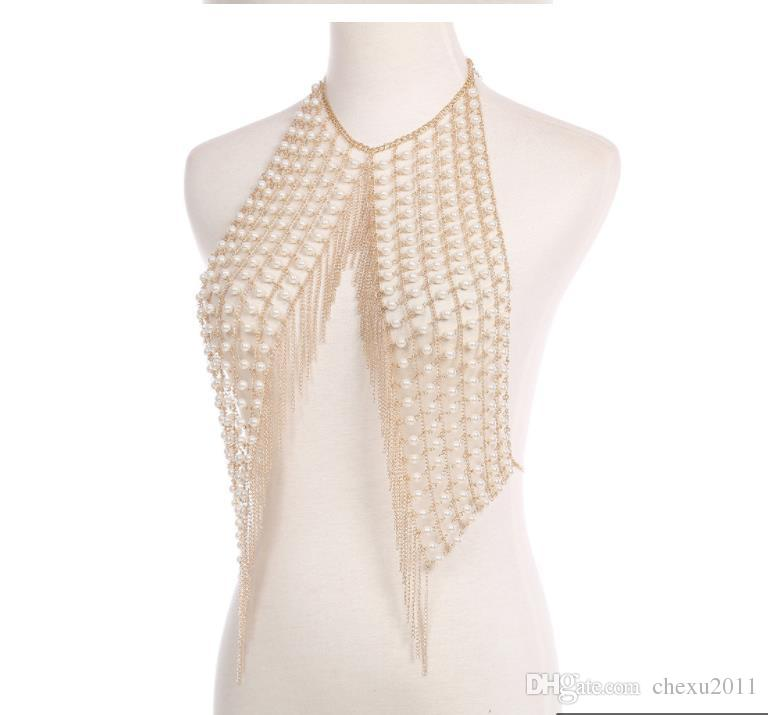 Summer new fashions sexy nightclub handmade pearl body chain necklace