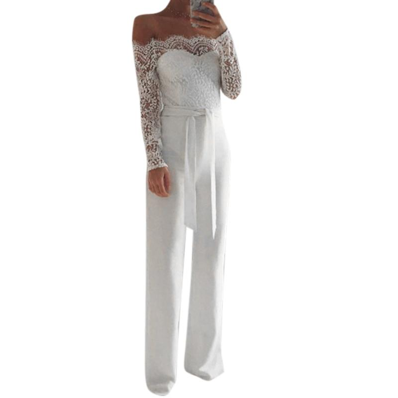 Elegant Off shoulder Lace Rompers Jumpsuit Sexy Long Trousers Overalls Jumpsuit