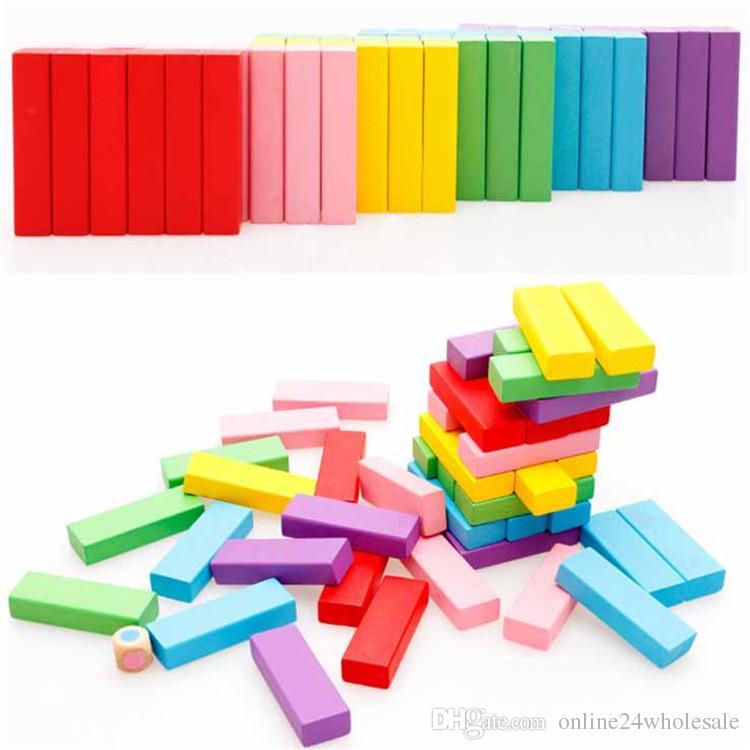 قوس قزح الدومينو كتل بناء خشبي ملون 0-3 سنة بنات بنين تعلم ألعاب تعليمية الخشب الدومينو الطوب هدية للأطفال