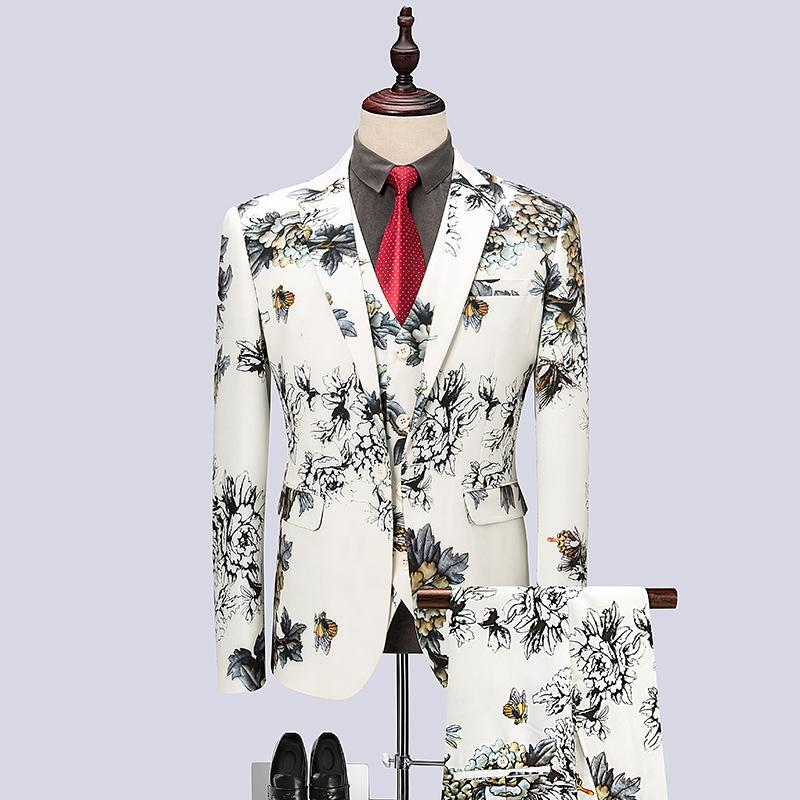 bea601fe4d Wedding Prom Floral Suits for Men 2018 Fashion Mens Groom Suits ...