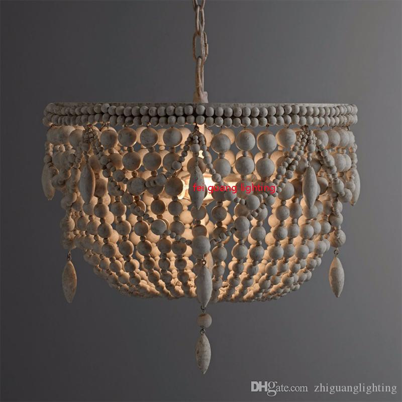 Stile country americano retrò appeso Lime bianco perline in legno lampada a sospensione luci a LED E27 AC 110V 220V soggiorno camera da letto