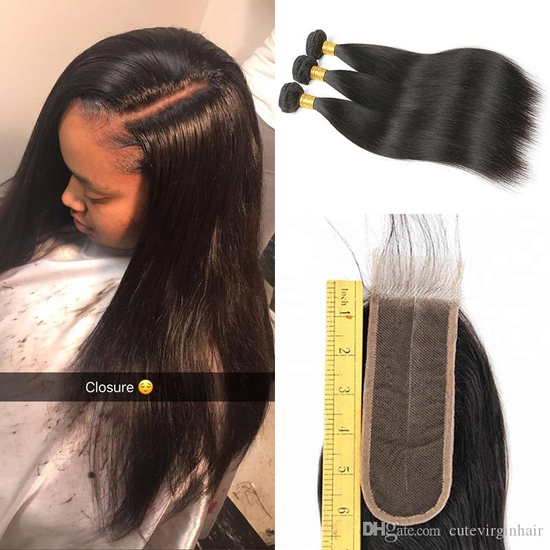 8A Cuticle Aligned Hair 3 Bundles With 2x6 Middle Part Swiss Lace Closure Straight Cheap Brazilian Human Hair Weaves Extension Natural Color
