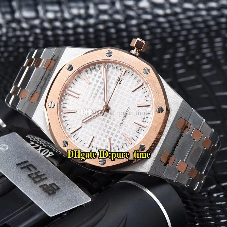 41mm Data Real 15400SR.OO.1220SR.01 Branco Textura Dial 15400 Automático Mens Watch Two Tone Rosa Faixa De Ouro de Alta Qualidade Gents Relógios