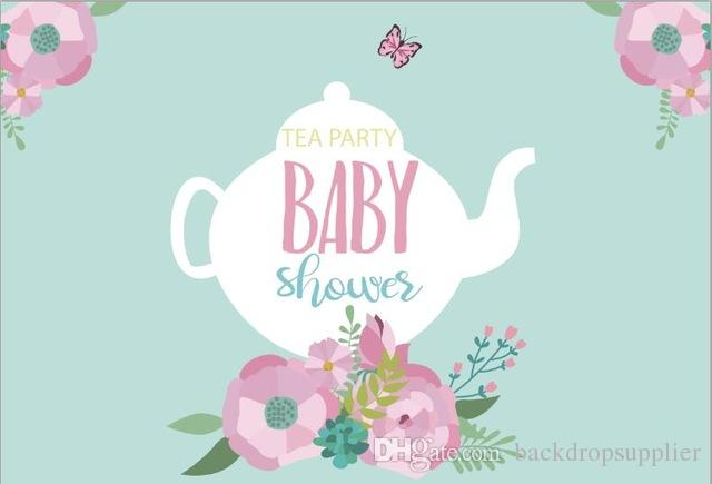 Acquista 7x5ft Tazza Tea Party Fiori Baby Shower Light Tiffany