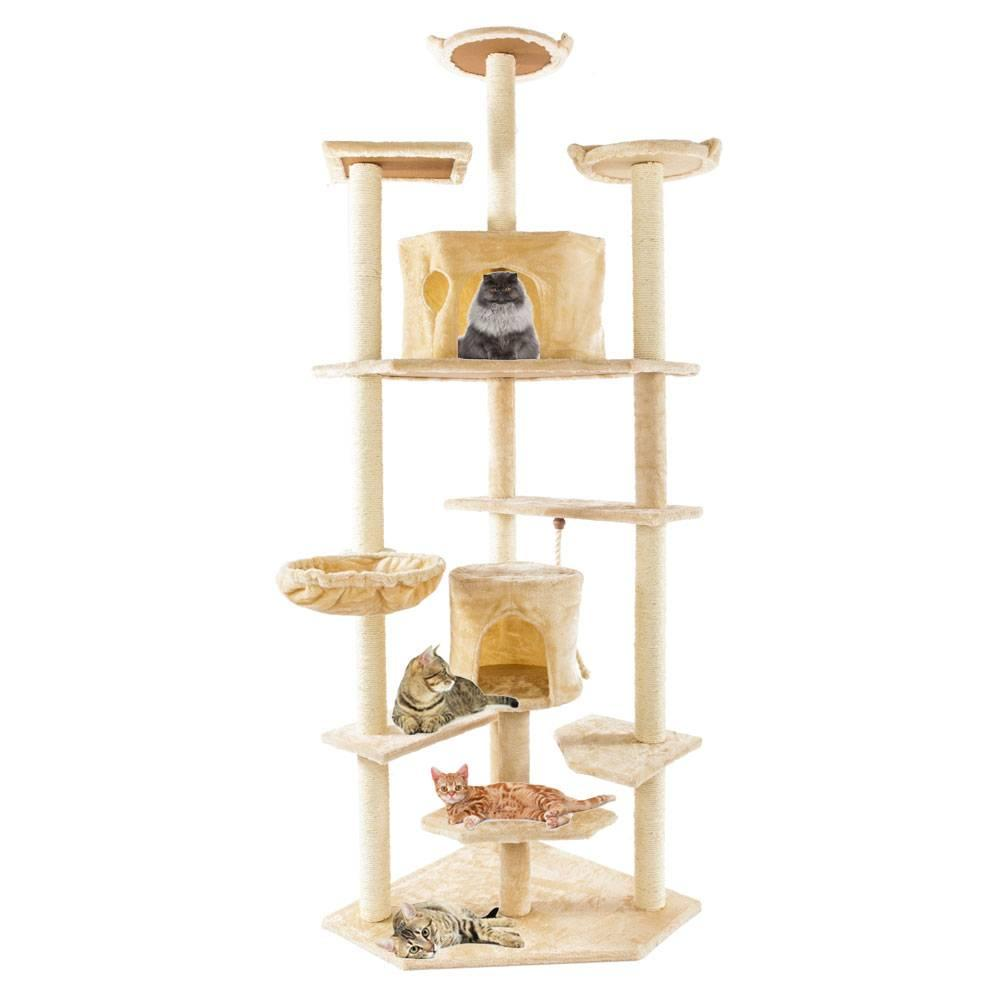 80 Cat Tree Condo Furniture Scratching Post Pet Kitten House Beige Free Shipping Online with $105.01/Piece on