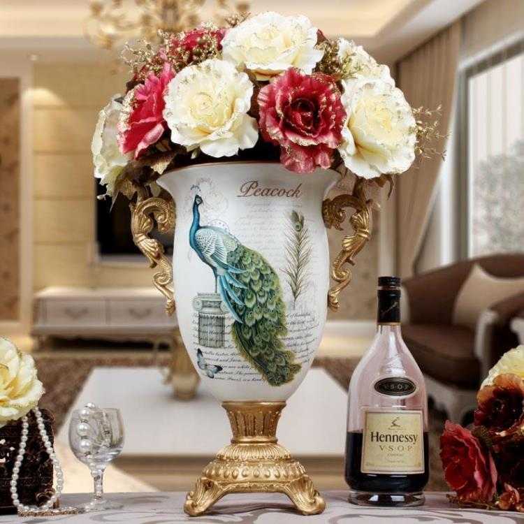 European Peacock Vase Gold Floral Ornaments Binaural Living Room Tv