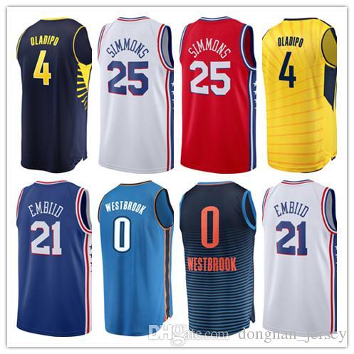 024ce8896 Top Quality 3 Allen Iverson 25 Ben Simmons 21 Joel Embiid 0 Russell  Westbrook 4 Victor Oladipo Jersey Embroidery Logos Stitched Jerseys 3 Allen  Iverson ...