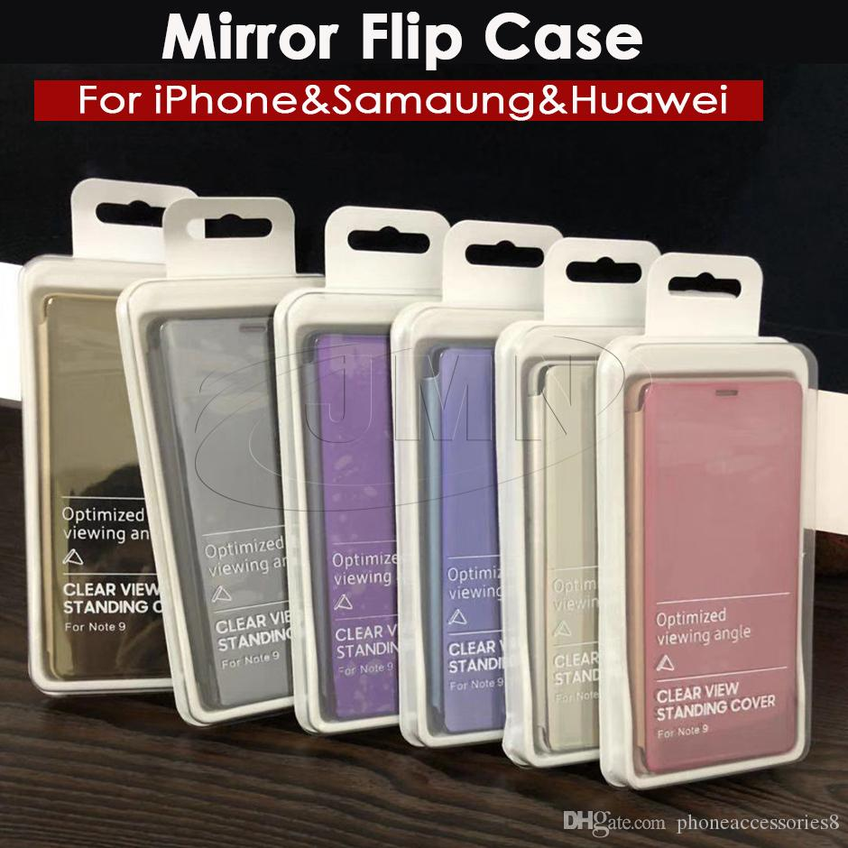 best service 120ce ca689 Mirror View Smart Flip Phone Case For Samsung Galaxy Note9 S9 Note8 S8 S7  Edge J4 J6 J8 A6 A8 2018 with retail package dhl ship