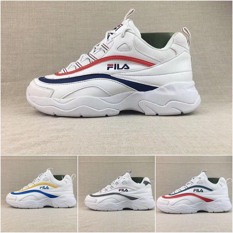 Compre 2018 Atacado FILA X Pasta Ray Joint Sapatos Vintage Marca De Luxo Na  Moda Para Homens Mulheres Calçados Casuais Double Color Listrado Tênis De  Vamp ... 4f981965da6fe