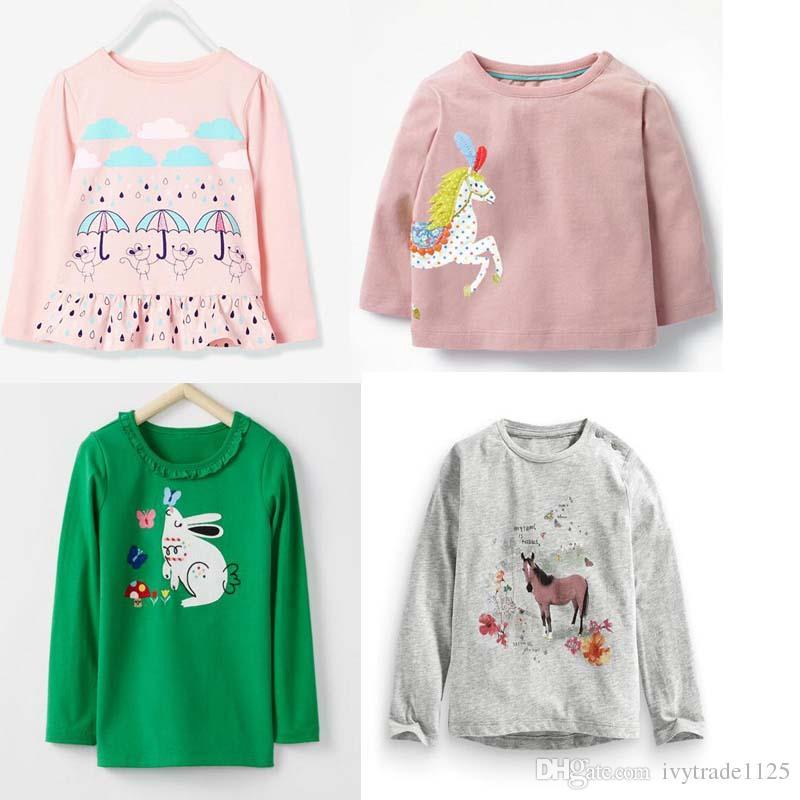 2f54bc171 INS otoño NUEVA llegada niñas niños conejo de dibujos animados diseño del  caballo de manga larga camiseta niños causal 100% algodón niña ...